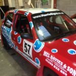 Side view of Micra Rally car 2013 championship winner Mick Smith car